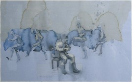 Cuttting watercolour, ink wash and coffee over pencil on blue paper. 2009