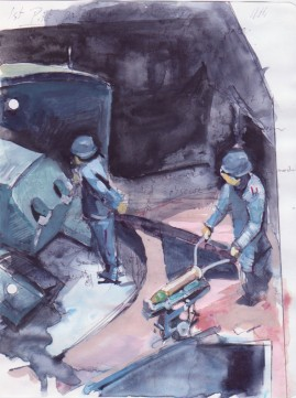 Bombs watercolour over ballpoint pen 22 x 17 cm 2008