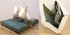Ship-in-a-Box, etching & aquatint print, mixed media. Open: 40 x 30 x 22 cm. Closed: 6 x 20 x 30cm. 2012.