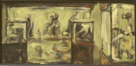 Anthropology Museum, oil & cold wax on board, 33 x 70 cm. 1995