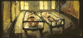 Anatomy Room, oil & cold wax on board, 33 x 70 cm. 1995