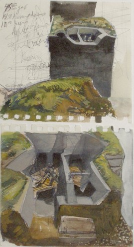 "Museum Sketch (study for ""Groundwork"") watercolour and ballpoint pen 32 x 15 cm 2009"