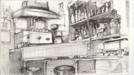 Cafe, 7 x 10 inches, ballpoint pen, 2004.