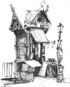 Kiosk, 7 x 5 inches, ballpoint pen, 2004.