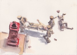 Stretcher Bearers watercolour 18 x 24 cm 2008
