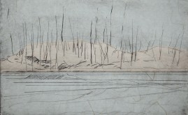 Winter Pond, drypoint & chine colle, 6.5 X 10.5 inches, 2010.