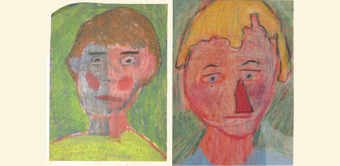 Self-portraits in oil pastel.