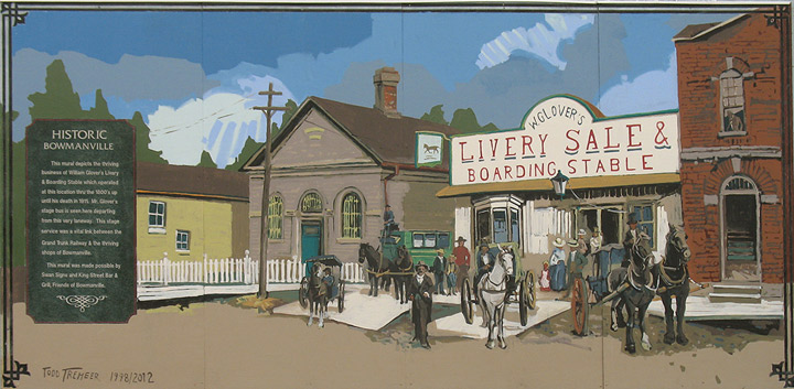 Historically themed mural by the artist in Bowmanville, Ontario.