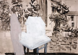 Props ` ink wash, gesso and oil paint on pink paper 120 x 75 cm 2008