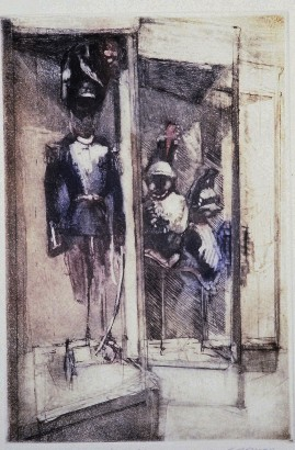 Military Museum, scraped aquatint & drypoint, 6 x 9 inches, 2004