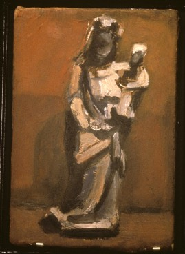 Small Sculpture: Royal Ontario Museum. oil on wood panel, 5 x 7 inches, 1999.*