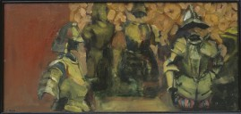 Arms & Armour, oil & cold wax on board, 33 x 70 cm. 1995