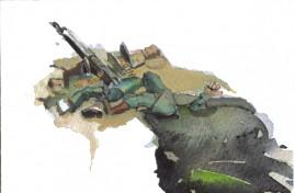 Knock-out watercolour postcard 10 x 15 cm 2008