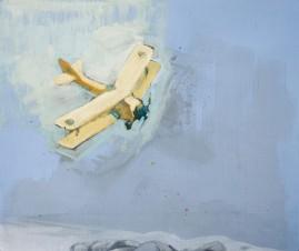 Test Run ink, watercolour, gesso & oil paint on blue paper 43 x 50 cm 2009
