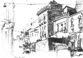 Above the Street, 8 x 10 inches, ballpoint pen, 2004.