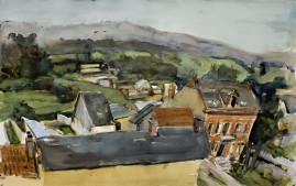 French Village, watercolour, 15 x 30 inches, 2008.
