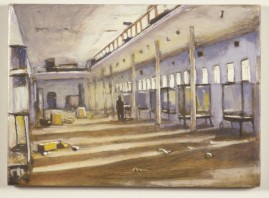 Empty Gallery, oil on wood, 10 x 15 cm, 2004.