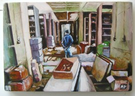 Museum Shelves, oil on wood, approx. 10 x 15 cm, 2004.