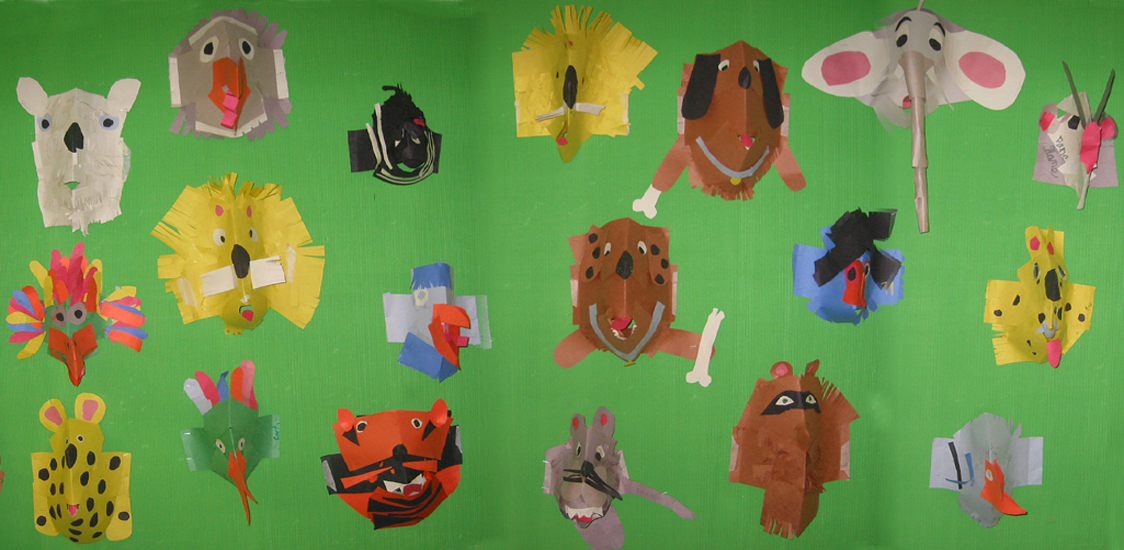 Paper folding and cutting to make animal sculptures
