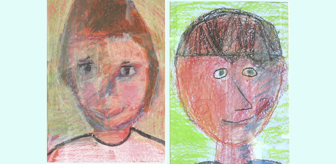 Self-portraits in oil pastel.